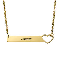 Collar de barra con corazón grabado – chapa de oro de 18K product photo