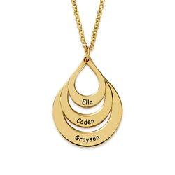 Collar de Gota de la Familia Grabada en Chapa de Oro foto de producto