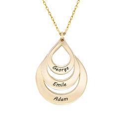 Collar de Gota de la Familia Grabada en oro 10k foto de producto