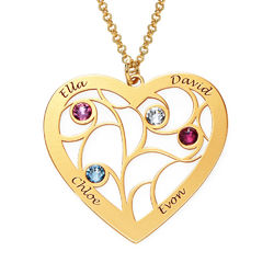 Collar Árbol de la familia con piedras de nacimiento en oro Vermeil product photo