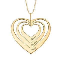Collar de corazón familiar en oro de 10K foto de producto