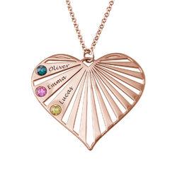 Collar de la Familia con Piedras de Nacimiento chapado en oro rosa product photo