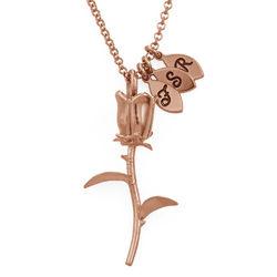 Collar de Rosa Florcon colgantes de inicial chapado en oro rosa foto de producto