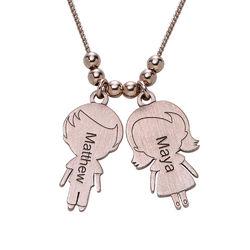 Collar con Colgantes Niño y Niña para MamáChapado en Oro Rosa product photo