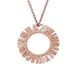Collar con Nombre en Círculo Chapado en Oro Rosa con Efecto Diamante foto de producto
