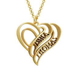 Collar Personalizado de Corazón 3D Chapado en Oro de 18k foto de producto