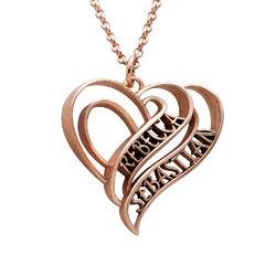 Collar Personalizado de Corazón 3D Chapado en Oro Rosa 18k product photo