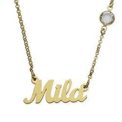 Collar con Nombre Chapado en Oro con Una Piedra de Nacimiento product photo