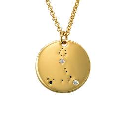 Collar Constelación de Piscis con Diamantes Chapado en Oro product photo