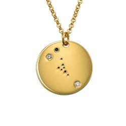 Collar Constelación de Tauro con Diamantes Chapado en Oro foto de producto