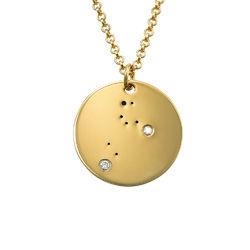 Collar Constelación de Leo con Diamantes Chapado en Oro foto de producto