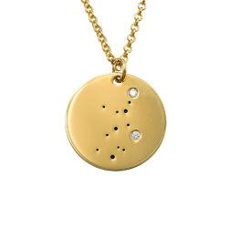Collar Constelación de Virgo con Diamantes Chapado en Oro foto de producto