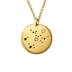 Collar Constelación de Sagitario con Diamantes Chapado en Oro foto de producto