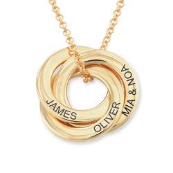 Collar anillo ruso chapado en oro - diseño 3D curvo foto de producto