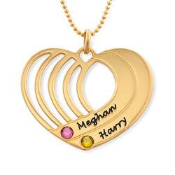 Collar de corazón grabado chapado en oro product photo