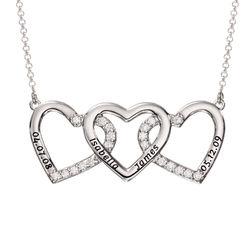 Collar de 3 corazones grabado en plata product photo
