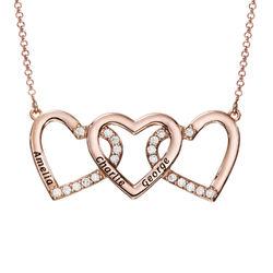 Collar de 3 corazones grabado chapado en oro rosa foto de producto
