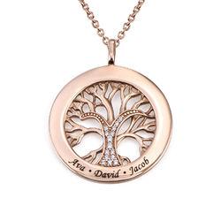 Collar con círculo con árbol de la vida y circonia cúbica chapado en product photo