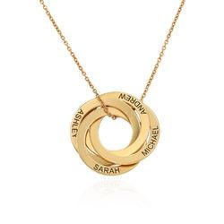 Collar de anillo ruso con cuarto anillos en plata 925 chapado en oro foto de producto