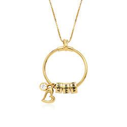Linda Collar con colgante circular con hoja y perlas personalizadas™ product photo