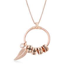 Collar Linda con colgante de círculo en chapa en oro rosa 18k con foto de producto