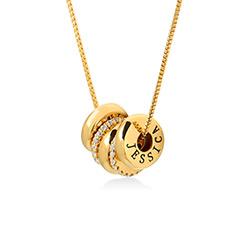 Collar de cuentas grabadas a medida en chapa de oro product photo