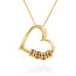Collar con Colgante de Corazón con Perlas Grabadas Chapado en Oro 18K foto de producto