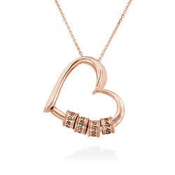 Collar con Colgante de Corazón con Perlas Grabadas Chapado en Oro foto de producto