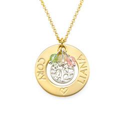 Collar Árbol de la Familia Chapado en Oro con Piedras de la Fortuna foto de producto