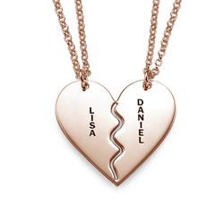 Collar Personalizado Chapado en Oro Rosa con Corazón Divisible product photo
