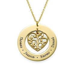 Collar Árbol de la Familia en Corazón chapado en Oro 18k foto de producto