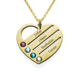 Collar de Corazón con Nombres y Piedras en oro Vermeil product photo