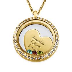 Medallón Flotante Amor de Madre chapado en oro foto de producto