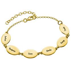 Pulsera para mamá en oro Vermeil con nombre de hijos y diseño ovalado product photo