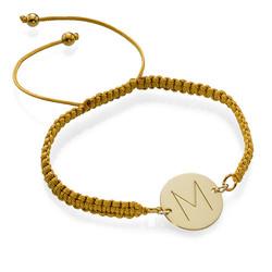 Pulsera con Inicial chapada en oro de cordón foto de producto