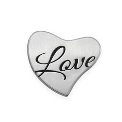 Placa para Medallón Flotante – Corazón Grabado en Plata product photo