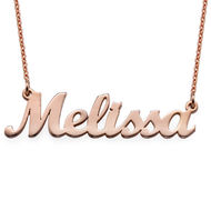 Collar con Nombre Script Chapado en Oro Rosa 18k