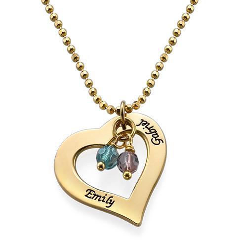 84b86b491ad8 Collar de Corazón grabado chapado en oro 18k con piedras ...