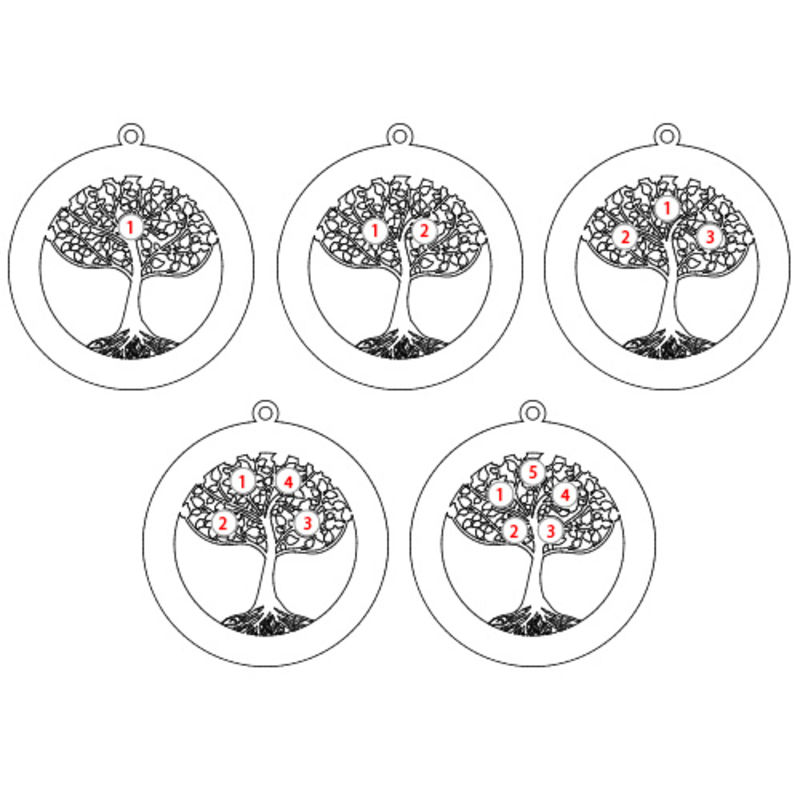 Cirkel Stamboom Ketting met Geboortestenen in 925 Zilver - 3