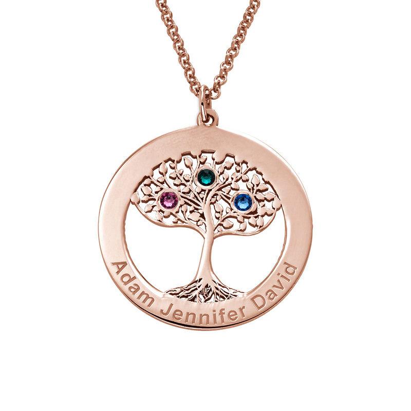 Rosé-vergulde ronde levensboom ketting met geboortestenen