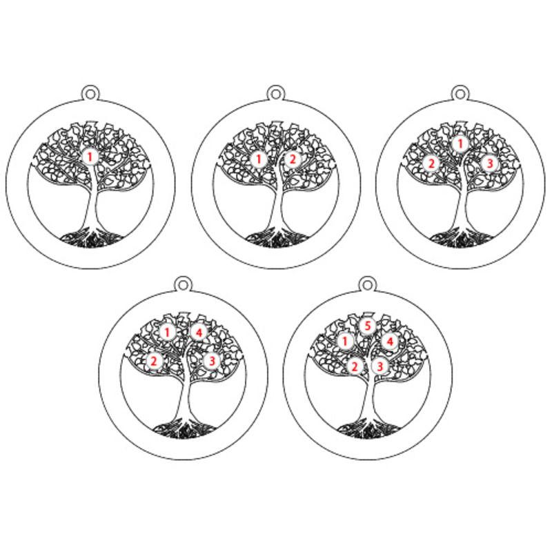 Rosé-vergulde ronde levensboom ketting met geboortestenen - 4