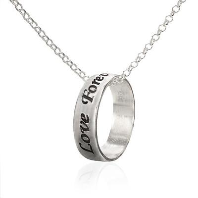 Zilveren (0.925) Ring aan Ketting