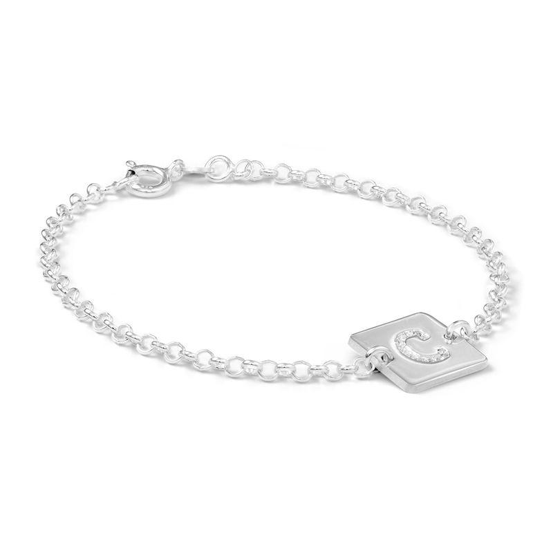 Sterling Zilveren Armband met Letter en Cubic Zirkonia - 1