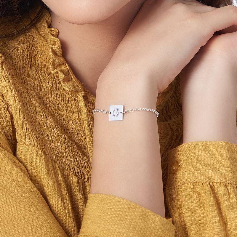 Sterling Zilveren Armband met Letter en Cubic Zirkonia - 3