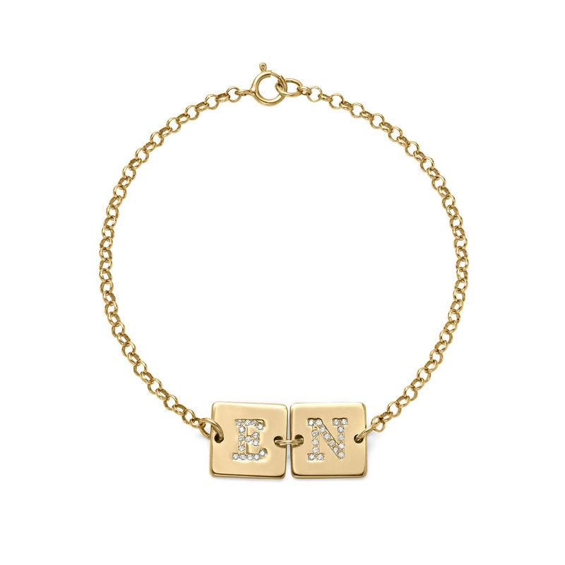 Vergulde Armband met Letter en Cubic Zirkonia
