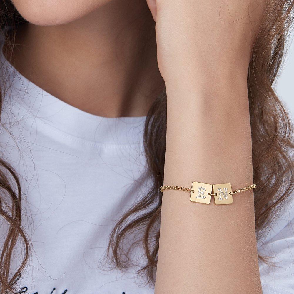 Vergulde Armband met Letter en Cubic Zirkonia - 3