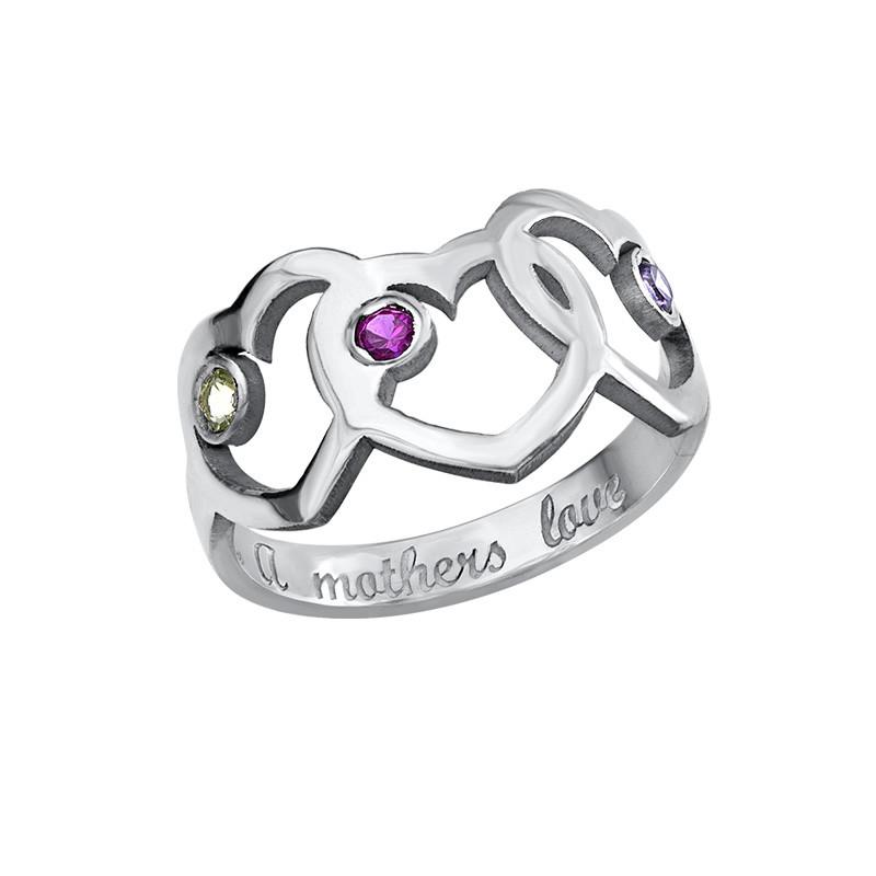 Hart Moeder Ring met Geboortestenen - 2