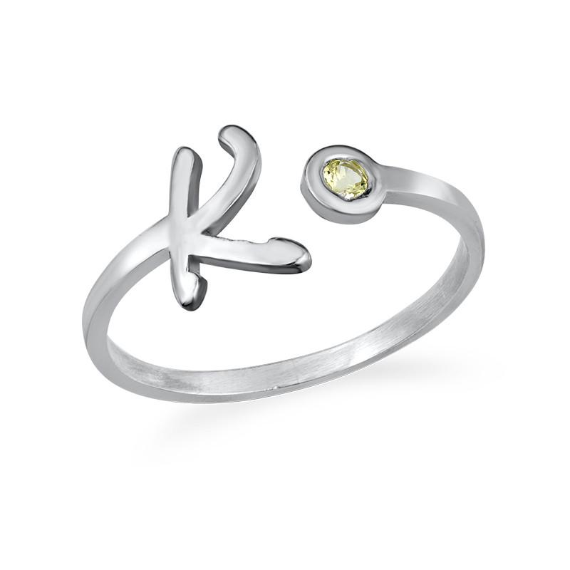 Initiaal Open Ring met Geboortesteen - 1