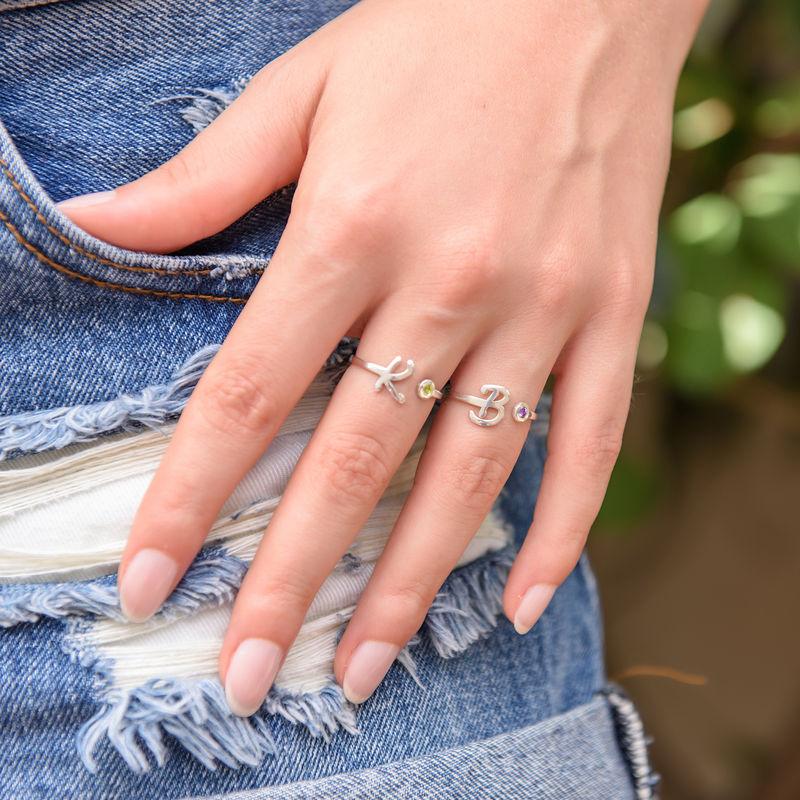 Initiaal Open Ring met Geboortesteen - 2