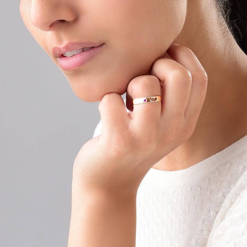 Babyvoetjes Ring met Gravering Binnenin in Rosé-Vergulde uitvoering - 3